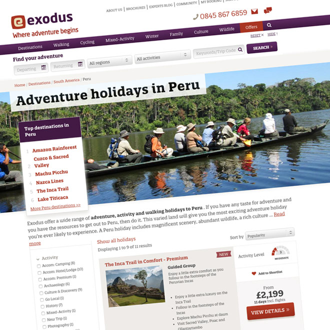 Copywriting services for Exodus Adventure Holidays